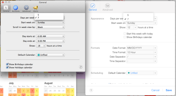 Calendar preferences on OS X 10.9, left, and on iCloud Calendar, right.