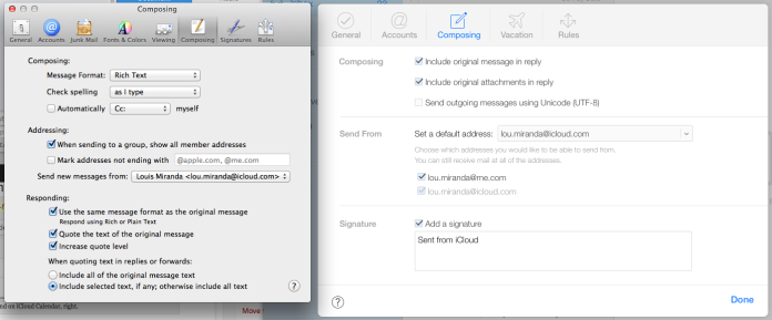 The Mail app's settings from OS X 10.9 on the left, and iCloud on the right.